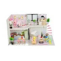 niños de la casa de madera al por mayor-Pink Melody Handmake DIY casa de muñecas de madera en miniatura niños niños casa de muñecas con cubierta de polvo decoración regalo adulto inteligencia