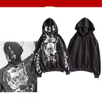 Wholesale skull hoodies wholesale online - New Spring Skull Printing Sweater Man Fashion Designer Caps Hoodies Leisure Long Sleeved Sports Clothing Loose And Comfortable xa Ww