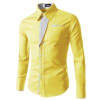 vestido de moda coreano para homens venda por atacado-Marca de moda Camisa Masculina Camisa de Manga Longa Homens Coreano Design Slim Formal Casual Masculino Vestido de Camisa Tamanho M -4xl