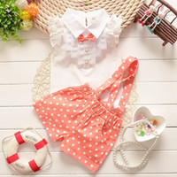 Wholesale retail girl shirt online - Retail Girl Summer Clothing Sets Sleeveless Bow Tie White Shirts Polka Dot Suspender Shorts Fashion Outfits Kids Clothing ATZ160