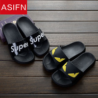 Wholesale cartoon slippers men - Shipping EVA Soft Comfortable Cartoon Slippers Men and Women Summer Couple Fashion Anti-slip Home Letters Cool Slippers Size:35-47