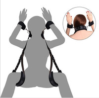 Wholesale Wrist Thigh Restraint - Adjustable Bondage Set to Compel restraints straps Open leg padded Thigh neck kit sex toy for women