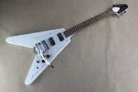 Wholesale guitar dot inlay resale online - Top Quality guitar with Tremolo Standard Dot Inlay GBS Flying V White Electric Guitar