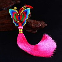 Wholesale butterfly folk art for sale - Chinese folk style butterfly tassel car hanging ethnic ornament
