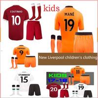 Wholesale Boy Games Kids - New 17 18 Soccer Jerseys kids kit child uniforms sets MANE SALAH FIRMINO 2018 COUTINHO Lucas STURRIDGE Chamberlain l mpada kit BOYS game