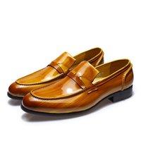 zapatos de vestir altos de color marrón de los hombres al por mayor-Alta calidad cepilló los hombres del cuero de patente Brown Wedding Loafer del banquete de boda en los zapatos de vestido ocasionales de la oficina del hombre de negocios