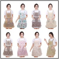 Wholesale apron women - 27 Styles Women Aprons for Baking Floral 91*71cm Kitchen Apron Polyester Kindergarten Clothes Bib with Pockets