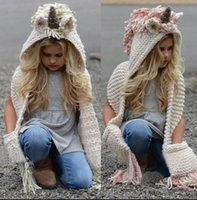 Wholesale hats winter years resale online - 4 color Girls Unicorn Scarf Winter Hat Wrap Unicorn Caps Cute Autumn Warm Children Wool Knitted Hooded Scarf Years KKA6023