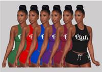 Wholesale ladies cotton tank tops - Love PINK Women Shorts Tank Tops Sports Suits Print Letter Short Pants Sleeveless Vest T-shirt Tees Tracksuit Lady Gym Fitness Sport Sets A6