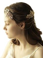 haarschmuck gold metallkette groihandel-Boho Gold Crystal Quaste Metall Kettenblatt Olive Leaf Stirnband Braut Hochzeit Haarschmuck