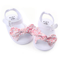 Wholesale Red Crib Shoes - baby shoes girl princess big bow floral first walkers soft soled anti-slip kids crib bebe footwear 0-12M