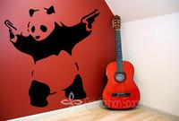 Wholesale Vintage Animal Decals - Wholesale-Banksy Panda Waving Hand Guns Vinyl Wall Sticker Wall Decal Poster Vintage Wall Mural Art Banksy