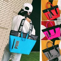 Wholesale Tote Bags For Wholesale - 9 Clors Love Pink Handbag Shoulder Bag Classic Portable Shopping Bags Fashion Pouch for Women Pink Letter Ladies Tote