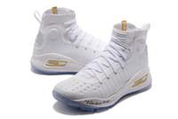 ingrosso prezzi elevati-Curry 4 bambini compleanno in vendita di alta qualità Stephen Curry 4 Triple White Mens Donna Bambini Basket scarpe prezzo all'ingrosso negozio US4-US12