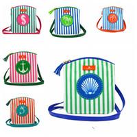 Wholesale tassel mobile - Women Shoulder Bag Brand Design Stripe Tassel Beach Mobile Phone Bag Female Fashion Mermaid Shell Cross body Girl Bag BBA92
