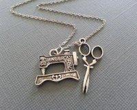 ключевой ошейник оптовых-Старинные серебряные ножницы швейная машина круг много ключей подвески заявление воротник колье ожерелья кулон ювелирные изделия для женщин новый