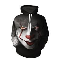 Wholesale clown cosplay - 2018 New movie IT Pennywise Clown Stephen King 1990 2018 Horror Movie Hoodie Sweatshirt COSPLAY Sportswear Tracksuit