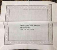 eski tekstiller toptan satış-Ev Tekstili 12 Moda Set Peçete Beyaz Yemeği Peçeteler Özel Günler Için Vintage Keten Peçeteler 20-inch