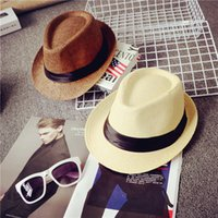 Wholesale Wholesale Straw Hats For Kids - Fashion Designer Wide Brimmed Straw Beach Bucket Hats For Adult Mens Womens Summer Children Kids UV Protect Fishing Caps Cowboy Sports Gorra