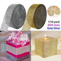 diamantes de imitación de oro rollo al por mayor-1 Yard / Roll Gold Silver Diamond Mesh Party Decoración de Navidad Recortar Wrap Roll Sparkle Rhinestone Crystal Bling Cake Cinta