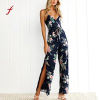 Wholesale Wide Leg Pants Trousers Jumpsuits - Women Jumpsuit V-Neck Floral Printed Sleeveless Party Trousers Bodysuit Wide Leg Pants Outfit rompers womens jumpsuit macacao