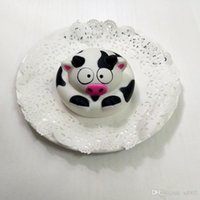 Wholesale cartoon cake for kids - Round Cow Cake Squishy Slow Rising Jumbo PU Foam Squeeze Squishies Decompression Cute Toys For Kid Adults Super Soft 5 5qz ZZ
