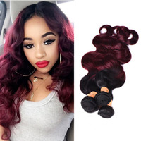Wholesale red weave extensions - Ombre Brazilian Virgin Hair Weaves Bundles Two Tone 1B 99J Wine Red Brazilian Peruvian Malaysian Body Wave Human Hair Extensions