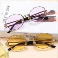 pfeilgläser großhandel-Punk Sonnenbrille Round Metal Damen Herren Arrow Randlose Sonnenbrille Damen Herren Modische New Tide Brille ljje10