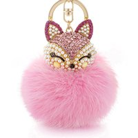 Wholesale rabbit hair handbags for sale - KK Lovely Fox rabbit hair ball fluffy key ring ring crystal Hotsale handbag key chain key ring female models