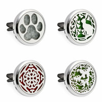 Wholesale Lovely Bear Stainless Steel - Lovely dog cat bear Paw 30mm Diffuser Pendant Car Aroma Locket Essential Car Diffuser Oil Lockets send 10pcs free oil pads