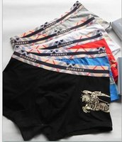 Wholesale Underwear 24 - 24 EPACKET HOT brand B RRY Men Underwear Boxers Soft Cotton 6 Color Breathable Letter Underpants Shorts Luxury Brand Cuecas Tight Waistband
