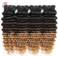 Wholesale three colors ombre hair for sale - Group buy 1B Ombre Blonde Deep Wave Human Hair Bundles Three Tone Color Pieces inch Brazilian Remy Human Hair Extensions
