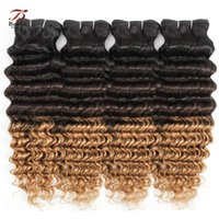 Wholesale 8A Brazilian Deep Wave Hair Weave Bundles Ombre Color B Three Tone Pieces inch Remy Human Hair Extensions
