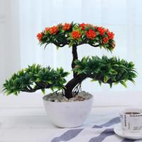 ingrosso miniature tree-All New Platic Artificial Flower Bonsai Albero Pot cultura Albero in miniatura per ufficio scrivania casa soggiorno arredamento decorativo