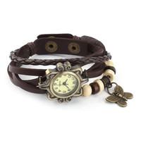 reloj pulsera vintage chicas de cuero al por mayor-GENBOLI 1 Unids Mariposa Vintage Reloj de Pulsera de Cuarzo Movimiento Mujeres de Cuero Reloj de Pulsera para Dropshipping