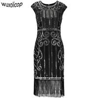 lange pailletten vintage kleider xl großhandel-1920er Jahre Vintage inspiriert Pailletten verziert Fringe lange Gatsby Flapper Kleid O-Ausschnitt Cap Sleeve geometrische Fancy 20s Party-Kleid