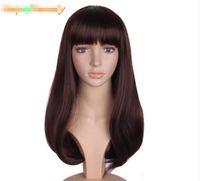 falsches haar braun großhandel-Lange Brown-Schwarz-Haar-Perücken für Frauen-synthetisches Haar hitzebeständig mit flachem Pony-falschen Haarteil-Frisuren