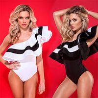 biquíni despojado venda por atacado-New Design Mulheres Moda Bikini Sexy Off Ombro Swimwear Frills Tiras Folha De Lótus Conjoined Praia Swimsuit Maiô 25 ml W