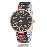 relógio de quartzo flor das senhoras venda por atacado-Transporte da gota mulheres flor padrão relógio casual ladies fashion relógios de pulso de quartzo feminino relógio