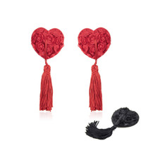 Wholesale black nipple covers - Red Black exy Women's Nipple Covers Heart Shape Rose Breast Petals Tassel Pasties Bra Lingeries