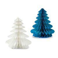 Wholesale Honeycomb Table - Handmade Honeycomb Christmas Trees Tissue Paper Trees Centerpiece Table Center For Christmas Party (Random Color)