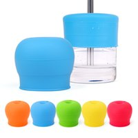 Wholesale candy drinks - Candy color Silicone leakproof Lids for baby kids water milk cups with straw hole baby Drinking Stretchable Leakproof Drinkware lids