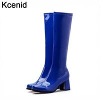 seksi ayakkabı platformu mavi toptan satış-Kcenid Rugan seksi blok yüksek topuklu çizmeler sonbahar kadın diz yüksek çizmeler mavi ayakkabı tıknaz platformu fermuar ayakkab ...