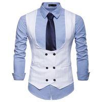 ingrosso vestito doppio del collare-Nuovo Gilet doppio petto Gilet uomo U Collare Gilet Homme 2018 Gilet aderente di marca Slim Fit Gilet uomo casual bianco