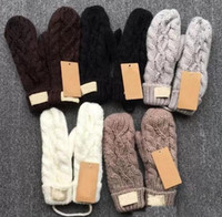 Wholesale knit gloves resale online - Hot High Quality Brand Gloves Unisex Wool Mittens European Fashion Designer Warm Gloves Twist Knitted Gloves