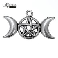 Wholesale Pentacle Charms Wholesale - My Shape Triple Moon Goddess Pendant Charms Fit Necklace Bracelet Pentagram Pentacle Protection Antique Star 20pcs a Lot