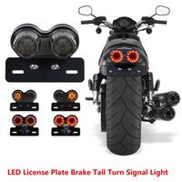 luz de sinal da cauda da motocicleta venda por atacado-Motocicleta Integrada Luz Da Cauda LEVOU Gêmeo Dupla Placa de Licença de Freio de Sinal de Volta Para ATV ktm exc
