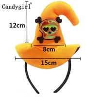 ingrosso streghe cappello fascia-Hot Orange Halloween Bats Hairbands Hoop Skull 6pcs Accessori fascia per capelli Chiusura Demone Zucca Cappello da strega Fascia Copricapo Copricapo