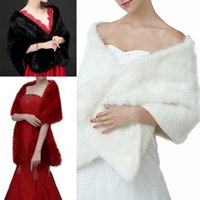 gelinler için bolero ceketler toptan satış-Yeni Moda Yeni Gelin Sarar Şallar Faux Kürk Şal Ceket Düğünler Için Fildişi Kırmızı Siyah Kış Sıcak Gelin Ucuz 160 cm * 30 cm CPA1495
