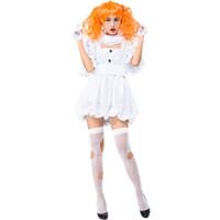 bonecas extravagantes venda por atacado-Meninas adolescentes Senhoras Halloween Horror Dead Wicked Fantasma Boneca Traje Branco Fantasia Vestido Curto Masquerade Roupas Para As Mulheres
